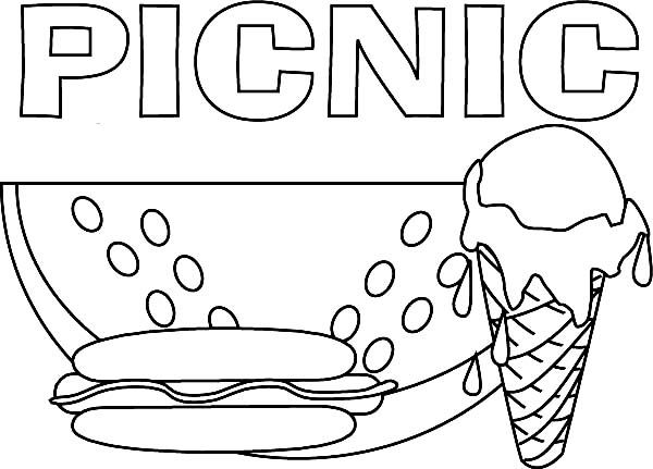 Delicious Food For Picnic Coloring Page Picnic Foods Coloring