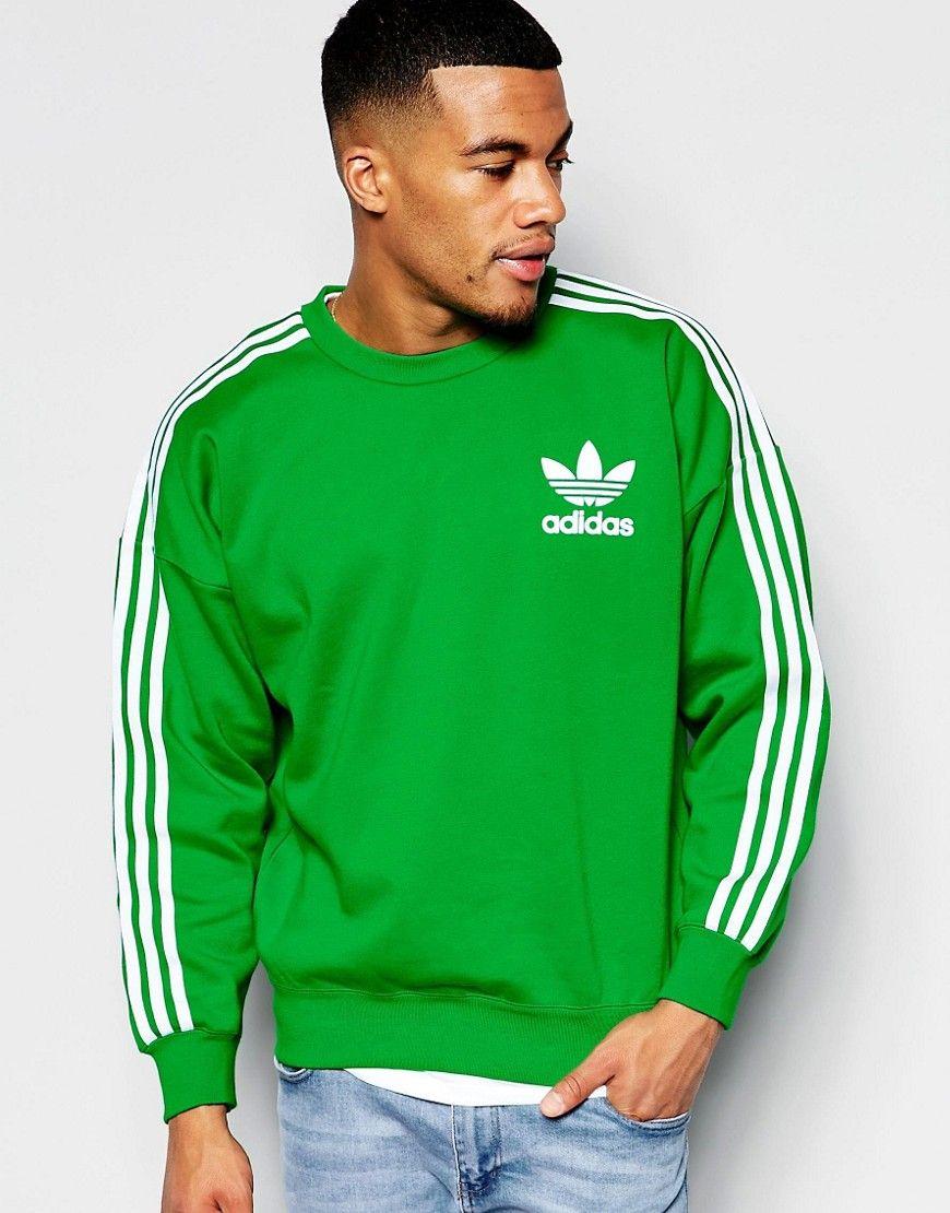 adidas Originals adicolor 90s Fit Sweatshirt In Green B10663 at asos.com