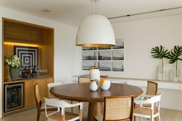 Pendelleuchte weiße Farbe Rundtisch Stühle modern | Dining & Kitchen ...