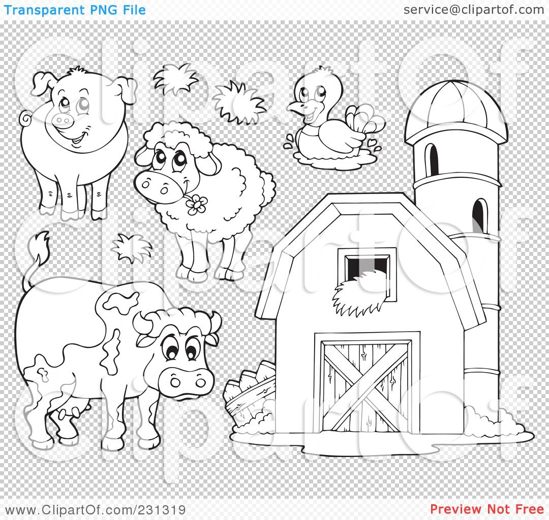 Coloring Page Outlines Of Farm Animals And A Barn With