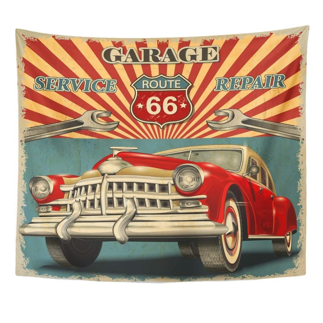 Classic Car Vintage Garage Retro Route American Sign Mechanic Wall Art Hanging Tapestry 60x80 Inch Retro Poster Vintage Garage Retro Travel Poster