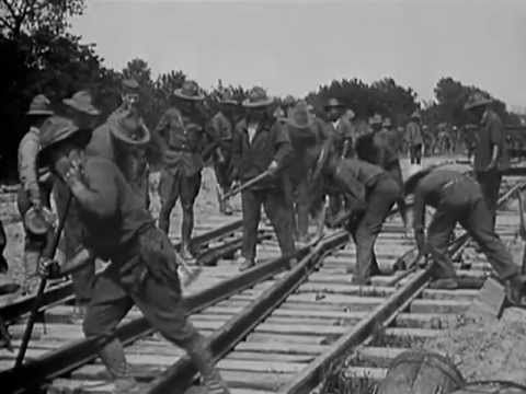 Narrow gauge train line construction in France during World War One - El...