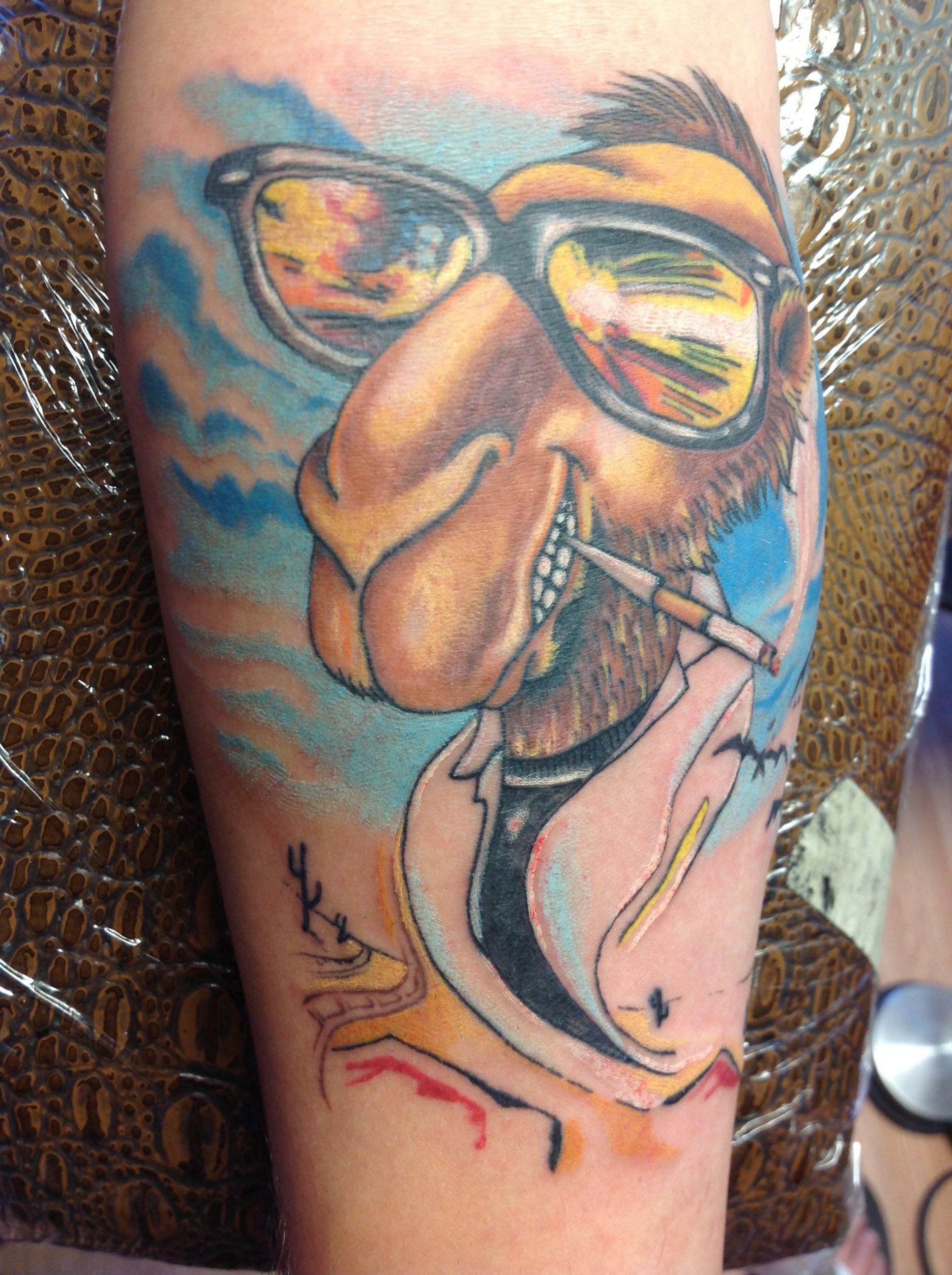 Joe camel, fear and loathing combo tattoo
