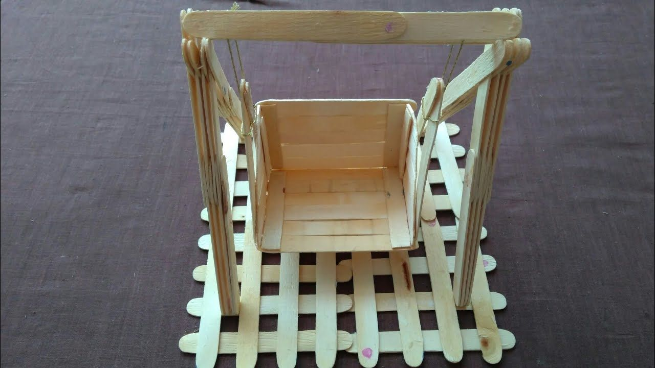 How To Make Popsicle Stick Swing Bal Gopal Swing Jhula Ice