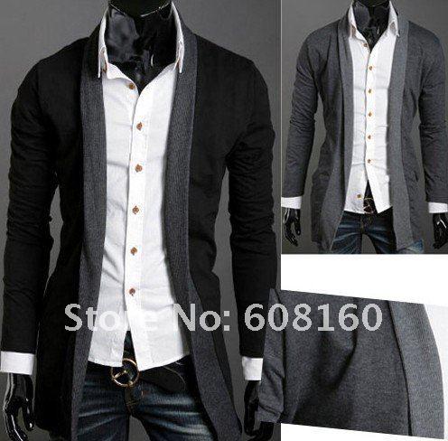 wholesale V-neck slim fit men's long t-shirt long sleeve tshirts ...