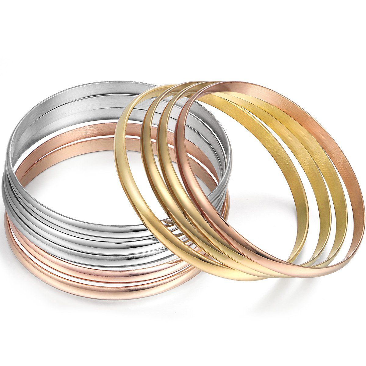Multistrand pcs tricolor silver gold rose gold stainless steel