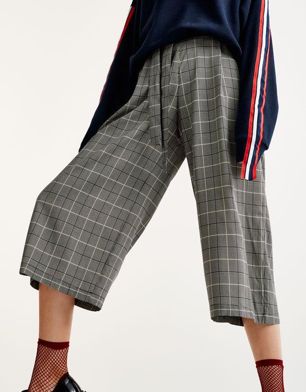 Pull Bear - mujer - ropa - ropa - pantalones - pantalón culotte cuadros -  negro - 09681361-I2017 9d968aff6b12