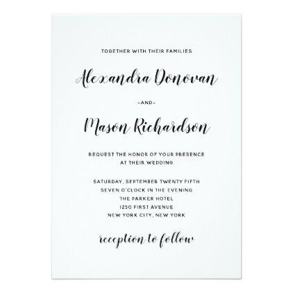 Modern script minimalist black and white wedding card wedding modern script minimalist black and white wedding card wedding invitations cards custom invitation card stopboris Choice Image