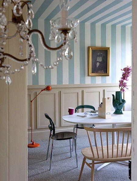 Papel pintado con rayas verticales para ampliar espacios - Papel pared rayas verticales ...