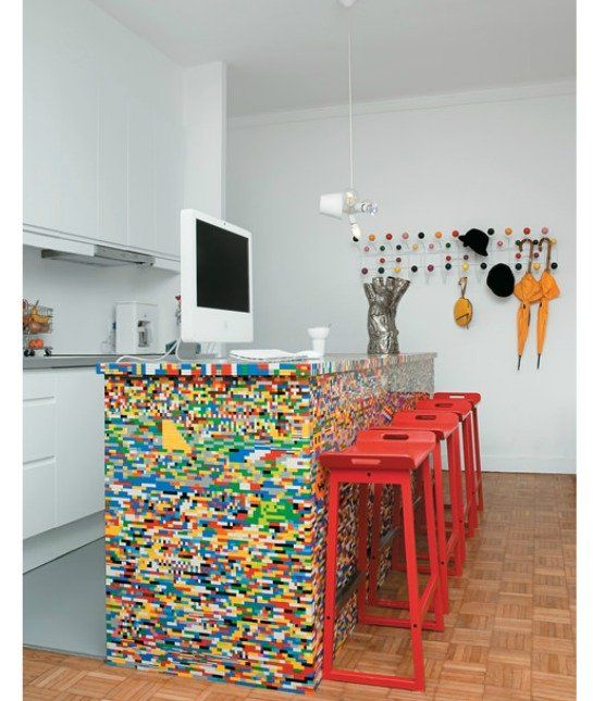 Lego Kitchen Backsplash: My Grandson Would Love This! He Actually Has