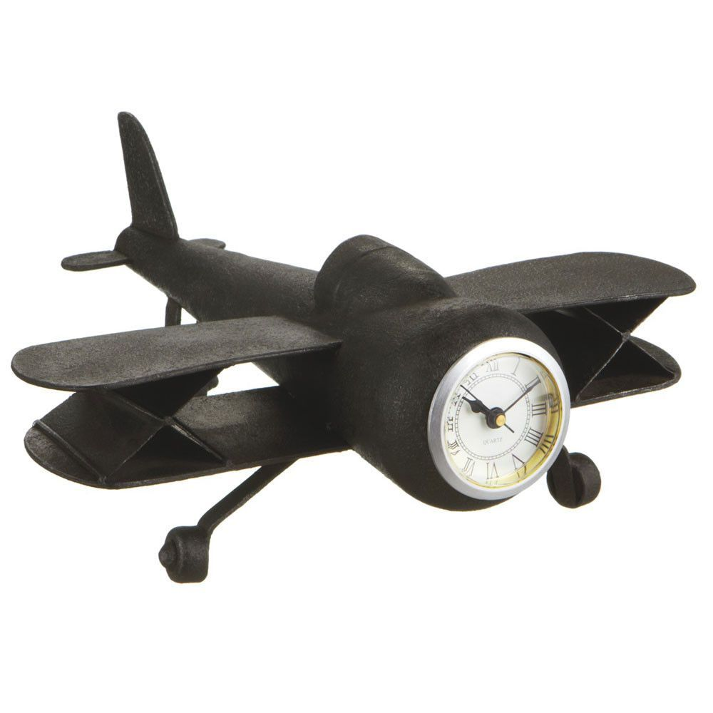 Vintage Airplane Metal Desk Clock