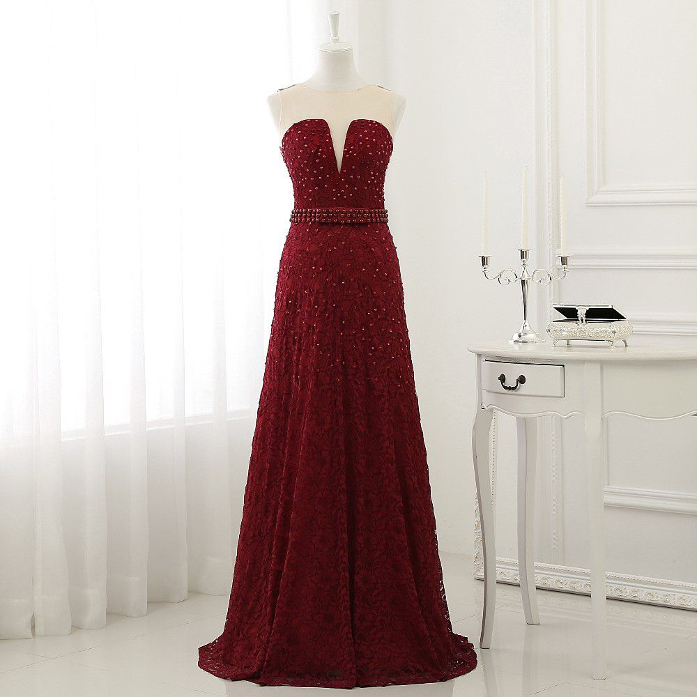 Find more prom dresses information about lace dark red prom dresses