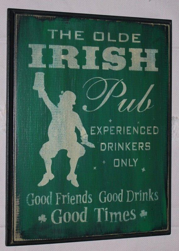 PRIMITIVE ST PATRICK/'S DAY SIGN~~IRISH TAVERN~~LEPRACHAUNS~~