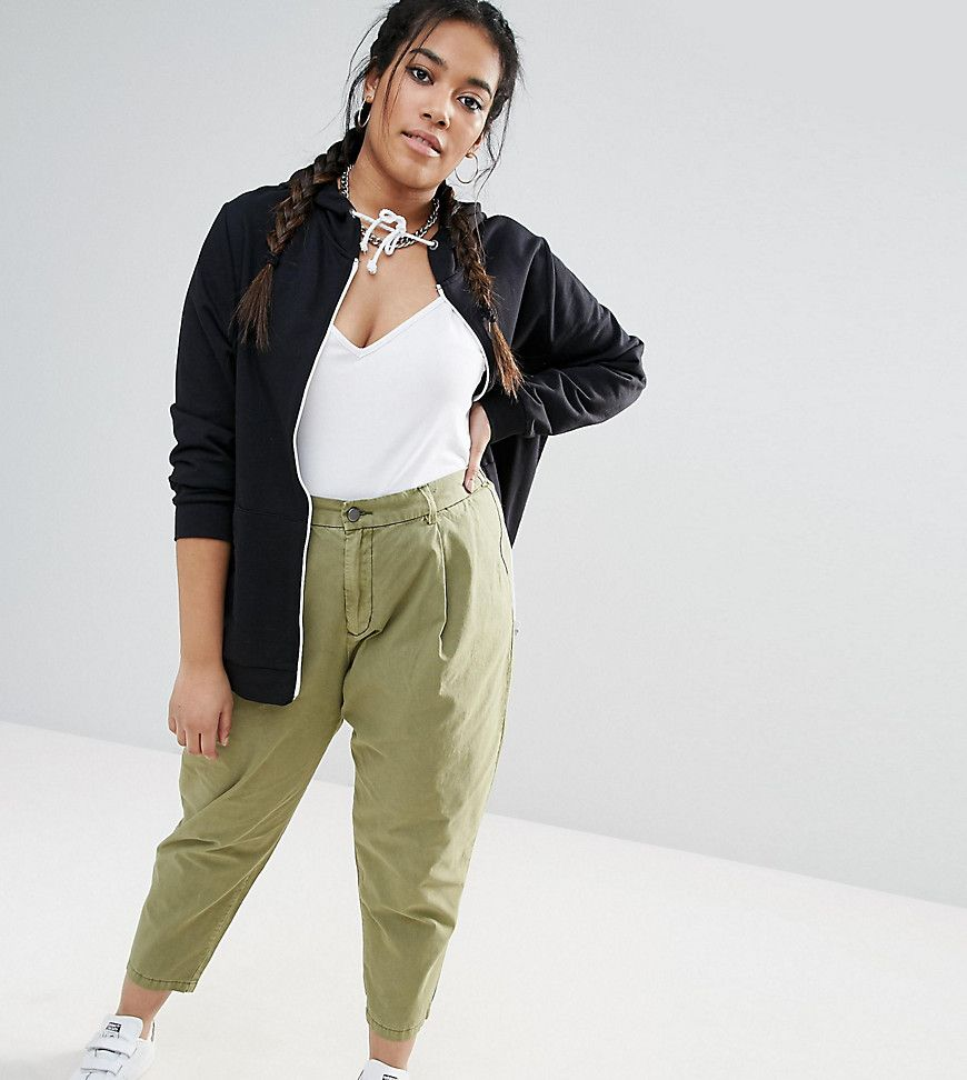 cee251ae7360 ASOS CURVE Washed Utility Peg Pants - Green   Charlie's Capsule for ...