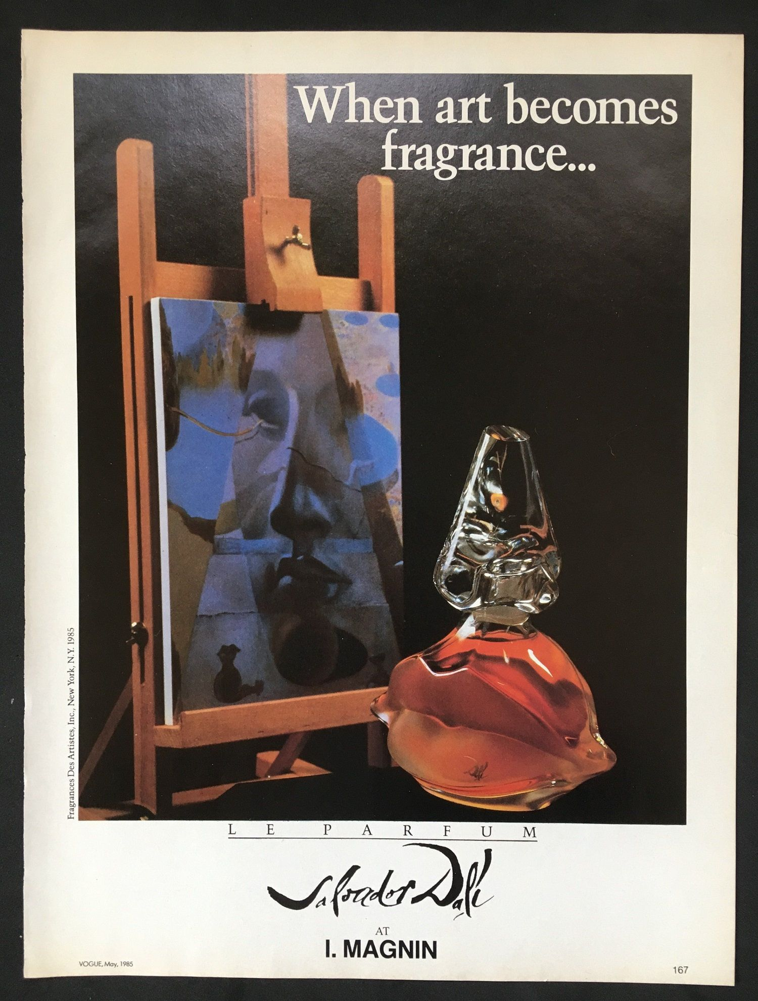 1985 Salvador Dali Perfume Ad Magazine Print Lips Bottle