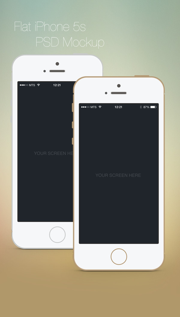 Flat iPhone 5S PSD Mockup by Vitaly Medvedev, via Behance