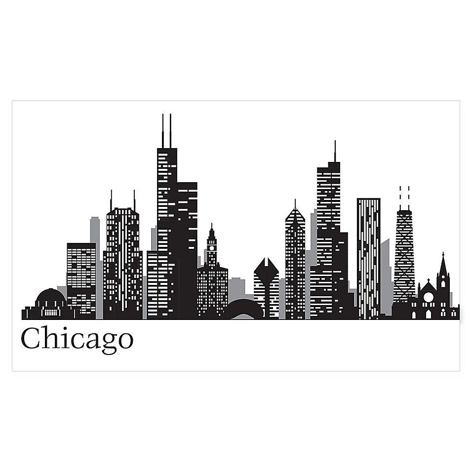 Wallpops! Chicago Cityscape Wall Art Kit Black in 2020