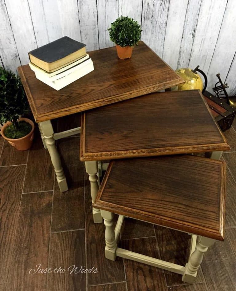Nesting Tables Painted Furniture Small Stackable Stacking End Burned Wood Burning Rustic