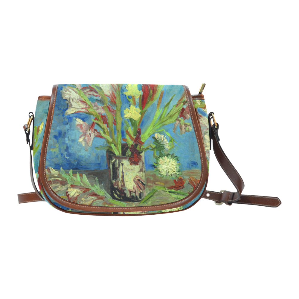 Vincent van Gogh Vase Gladioli Chinese Asters Saddle Bag/Small (Model 1649) Full Customization