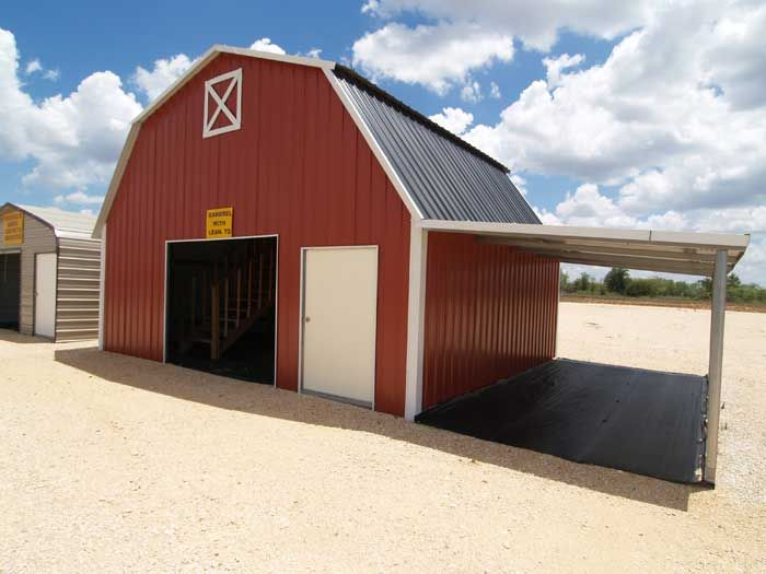 Red metal carport combo carport and storage metal for Lean to barn