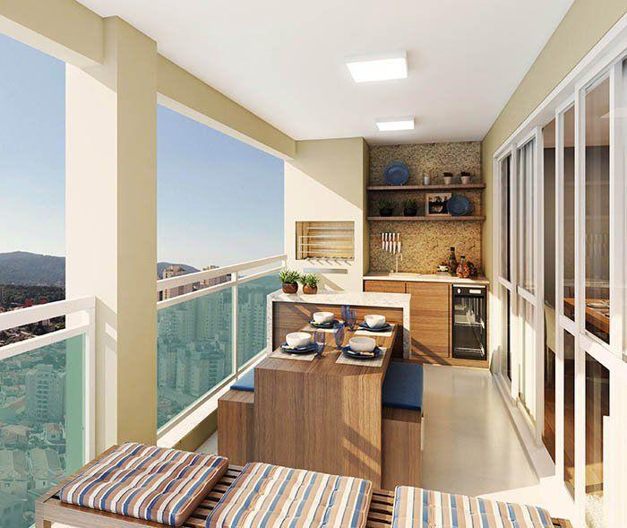 Decora o para varanda gourmet de apartamentos balcones for Decorando departamentos pequenos