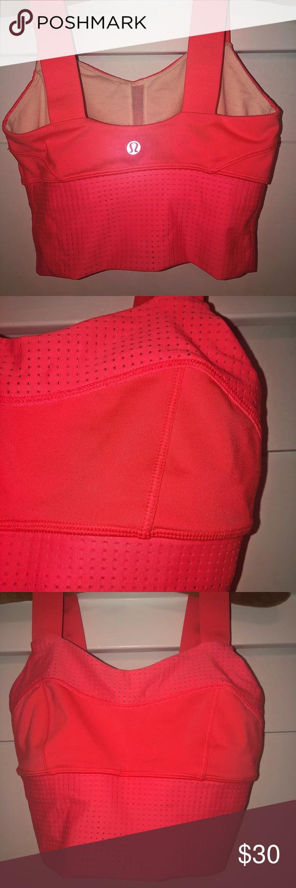Neon coral long sports bra from lululemon Fun lululemon