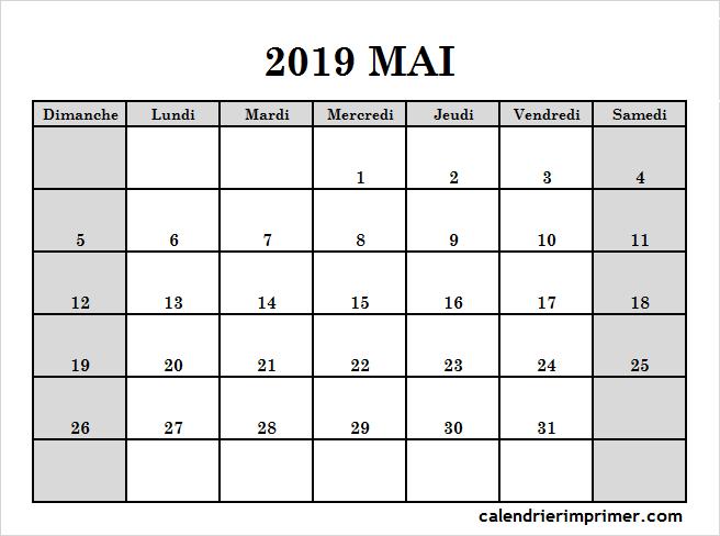 Mai Calendrier 2019.Imprimer Calendrier 2019 Mai Pdf Calendar Templates Calendar