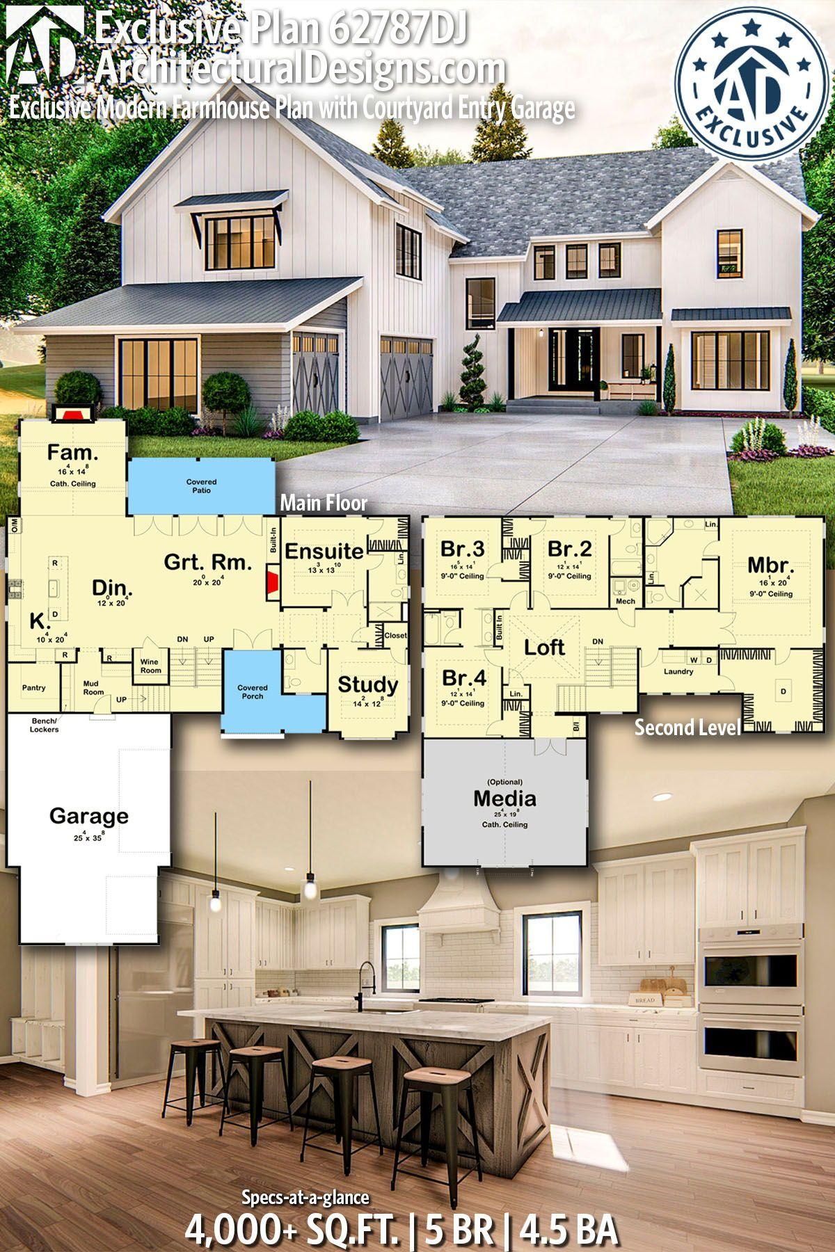 Plan 62787dj Exclusive Modern Farmhouse Plan With Courtyard Entry Garage In 2020 Modern Farmhouse Plans House Plans Farmhouse House Plans