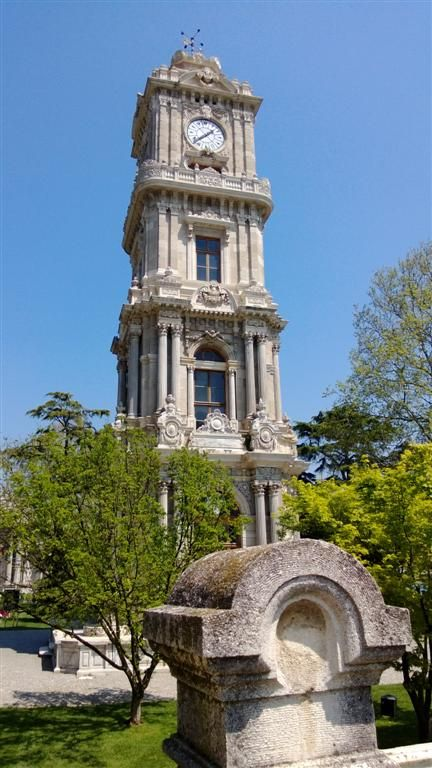 Clock Tower of Dolmabahce Palace. Istanbul, TURKEY