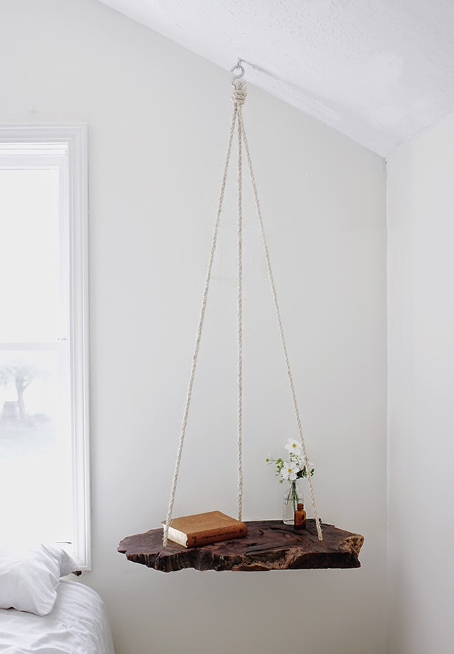 Hanging bedside table & 4 other DIY projects. Table made with reclaimed  wood and suspended from ceiling with rope. Another DIY is a couch side table  made ... - Bedside Table / 79 Ideas: Ideas I Would Spill My Water And Knock
