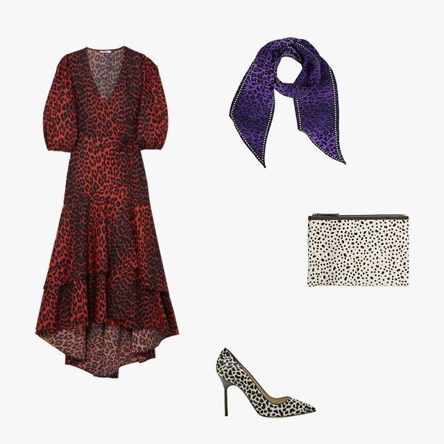 5c9d9d23 Ganni Bijou leopard-print cotton-poplin wrap dress, $315, net-a-porter.com;  Manolo Blahnik BB Dalmatian-print pony-hair pointy pumps, $895, ...