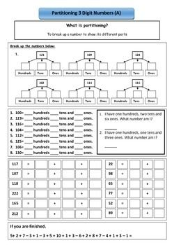 Partitioning 2 And 3 Digit Numbers Kids Math Worksheets Math Resources Numbers For Kids