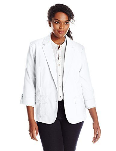 Napa Valley Women's Plus-Size Patch Pocket Linen Look Jacket: sleeves notch  collar lined jacket, with two button front closure.