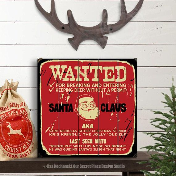 Funny Wood Santa Sign Christmas