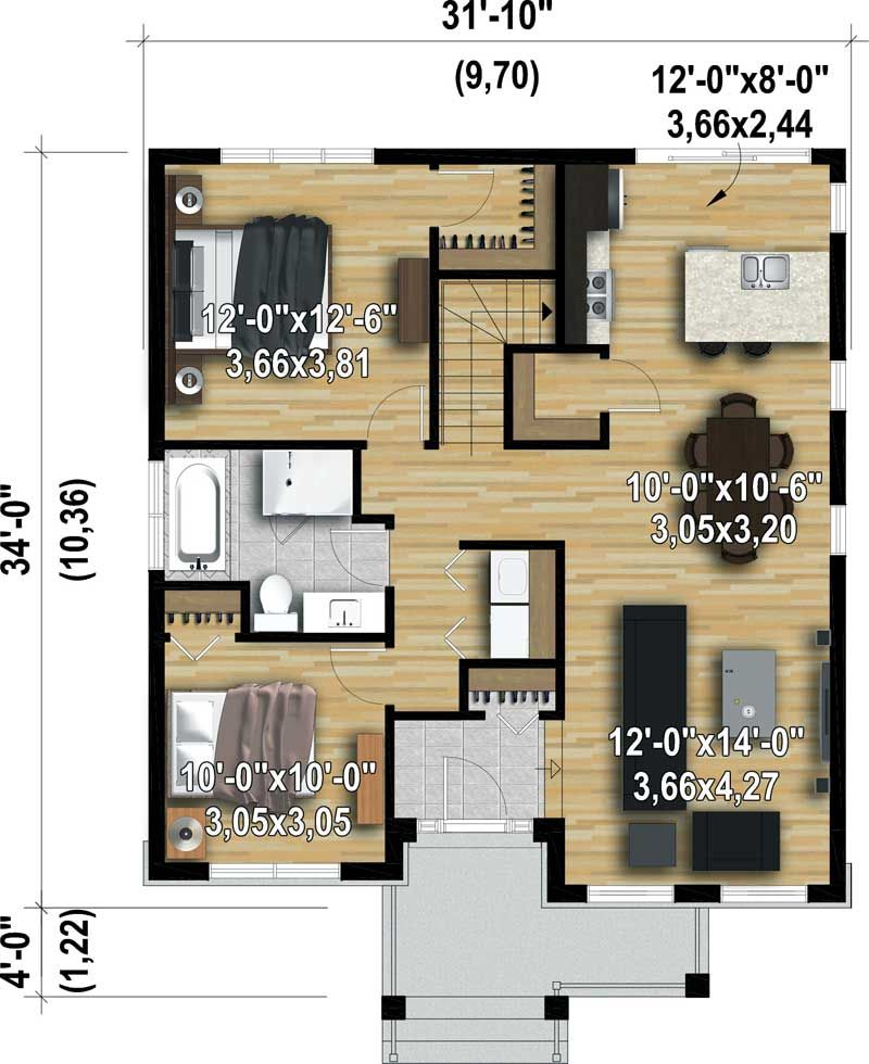 Plan 80877PM Rustic Two Bedroom Getaway Small homes in