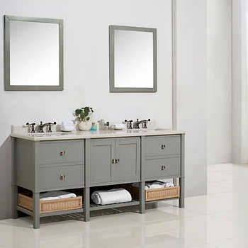 Cypress Hills - 73 in Dove Grey Forsythe Bathroom Vanity New