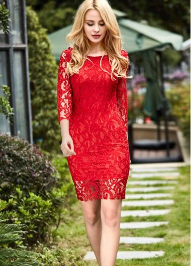 Red Lace Knee Length Dresses