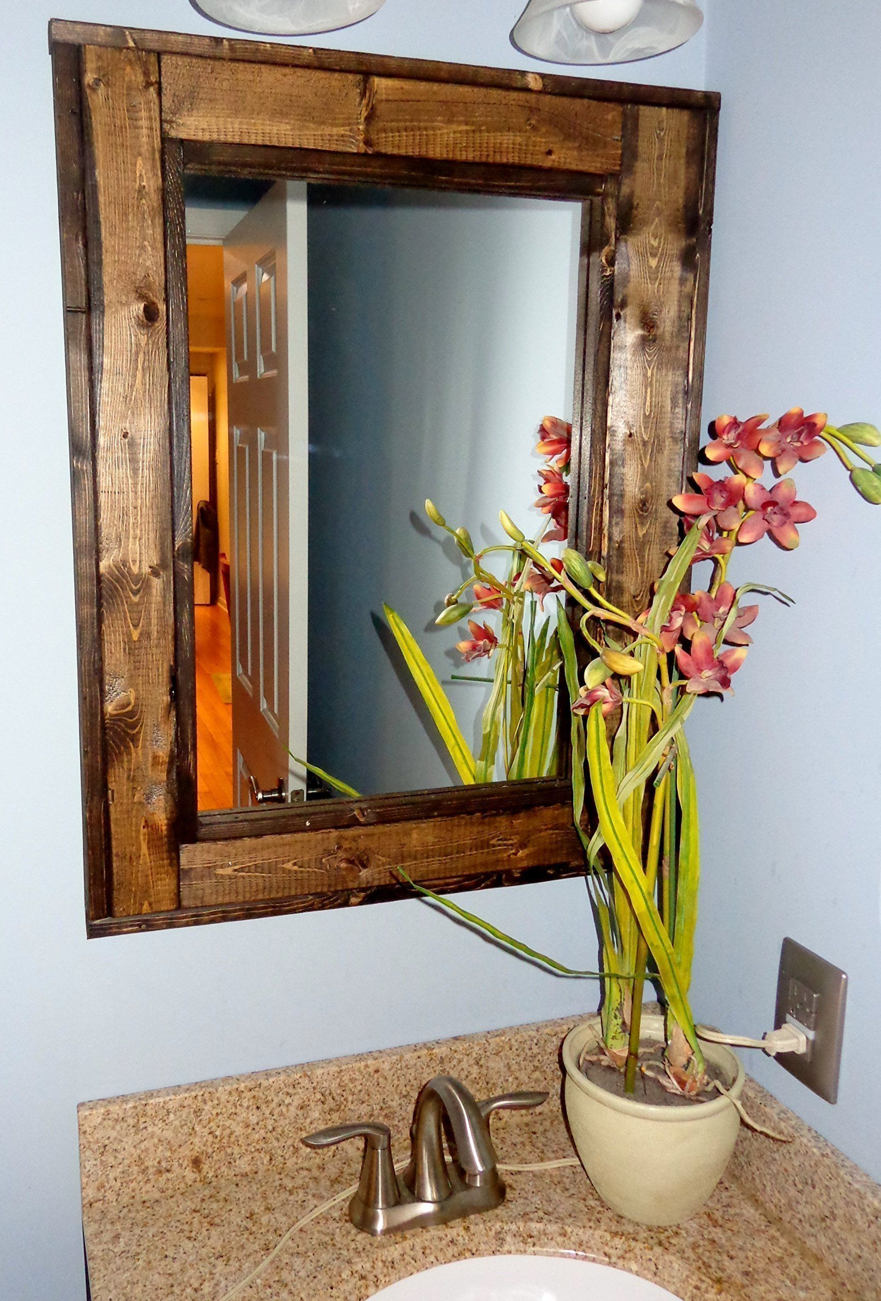 Renewed D Cor Herringbone Reclaimed Wood Bathroom Vanity Mirror In