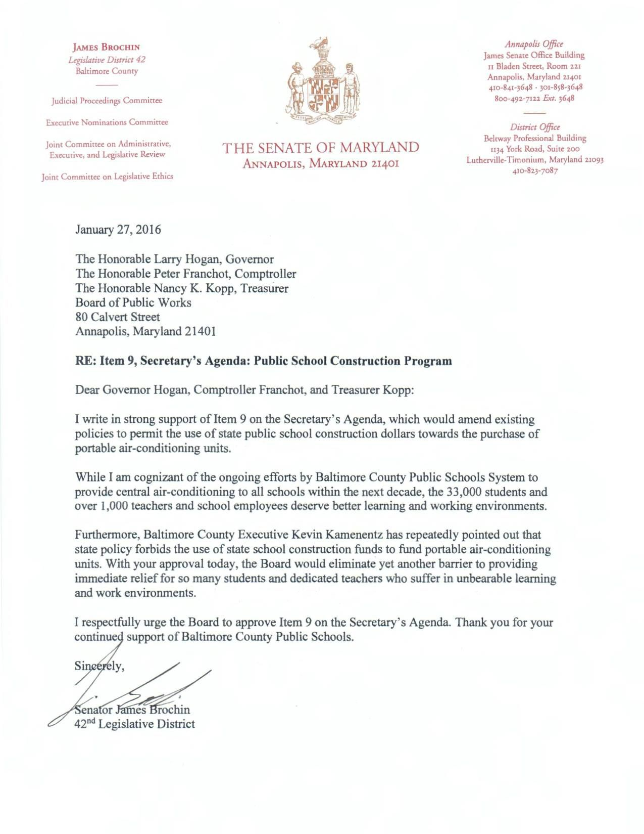 Letter Of Support From Senator James Brochin  Support For State