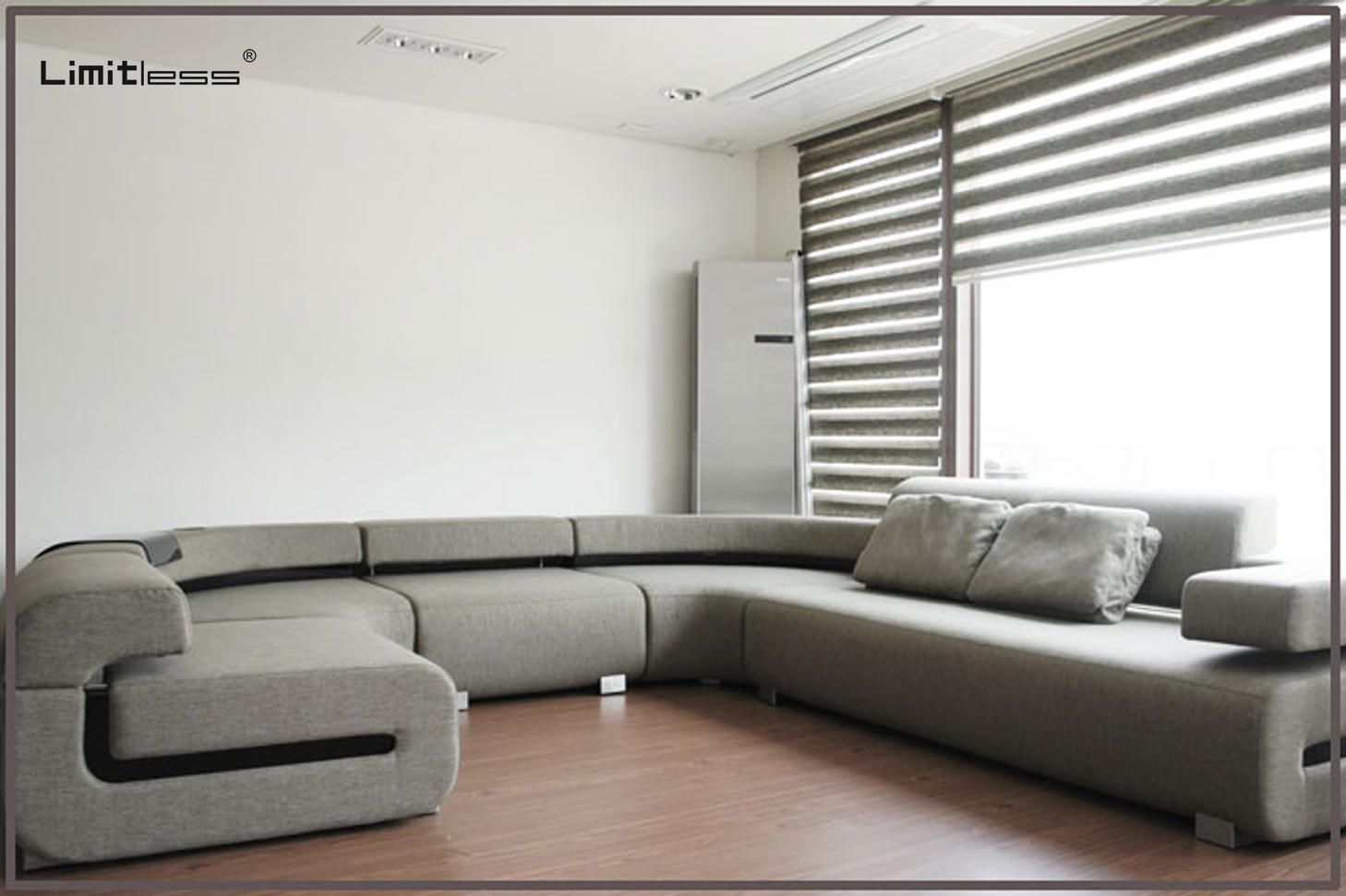 """Our clients a very modern life and good design should reflect the way the client live their own modern life.    The Living Room was designed using simple forms with irrepressible geometric allure, flaunting the figure without the flash. With the utmost freedom of form, Limitless showcases their dexterity for fashioning bold minimalist multi textured furnishings in the """"G"""" sectional."""