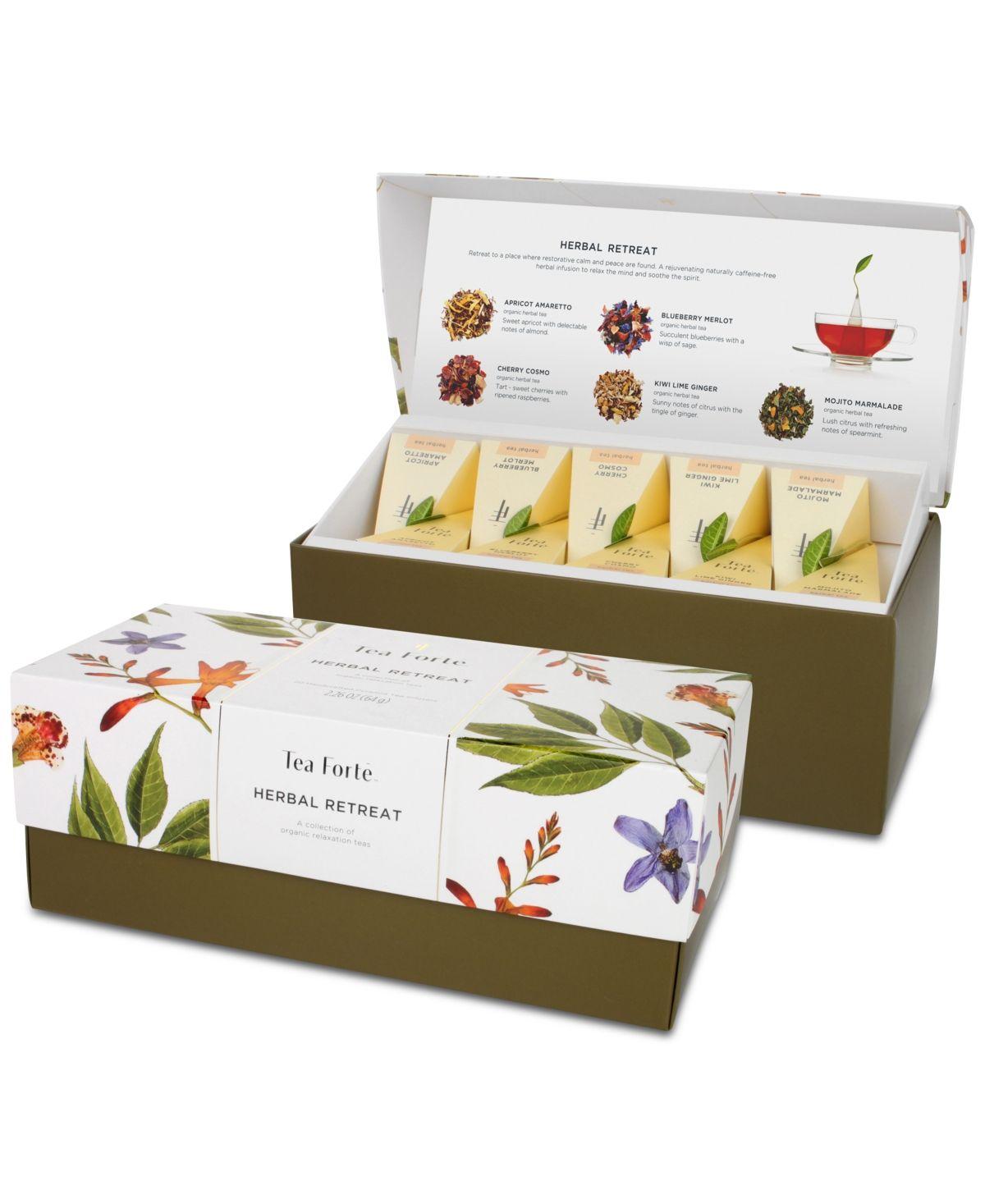 Assorted Variety Tea Box Tea Forte Warming Joy Petite Presentation Box Tea Sampler Gift Set 10 Handcrafted Pyramid Tea Infuser Bags with Black Tea and Herbal Tea Winter Holiday Blends