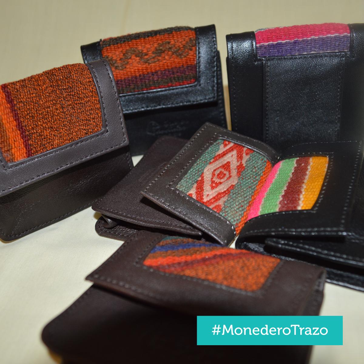 Monedero Trazo - Cuero con aplicaciones de manto andino