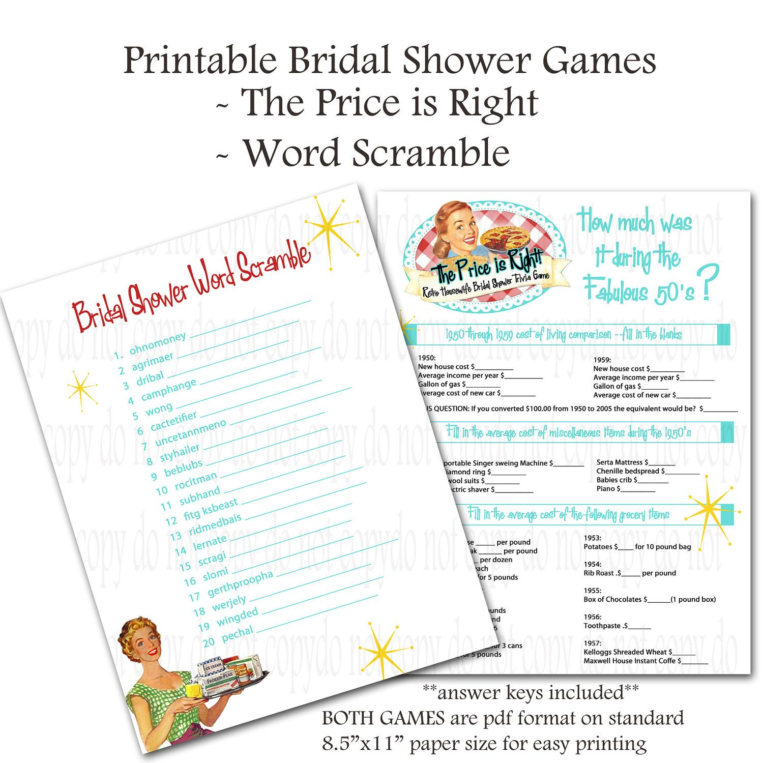 Printable Retro Housewife themed Bridal Shower Games - Word Scramble ...