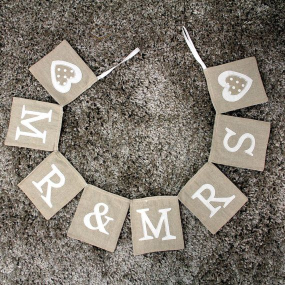 Rustic Burlap Style 'Mr & Mrs' and 'Cheers' Wedding Bunting. Stitched in White, Letters/Hearts and Finished with Silk Ribbon