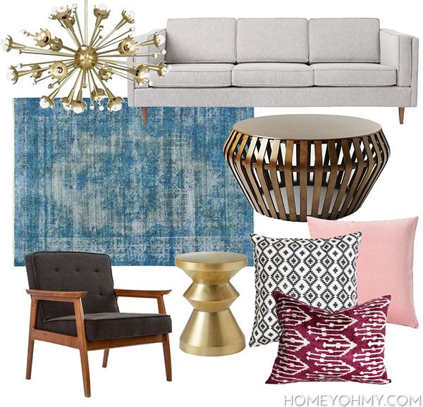 Mid Century Modern Glam Living Room Inspiration