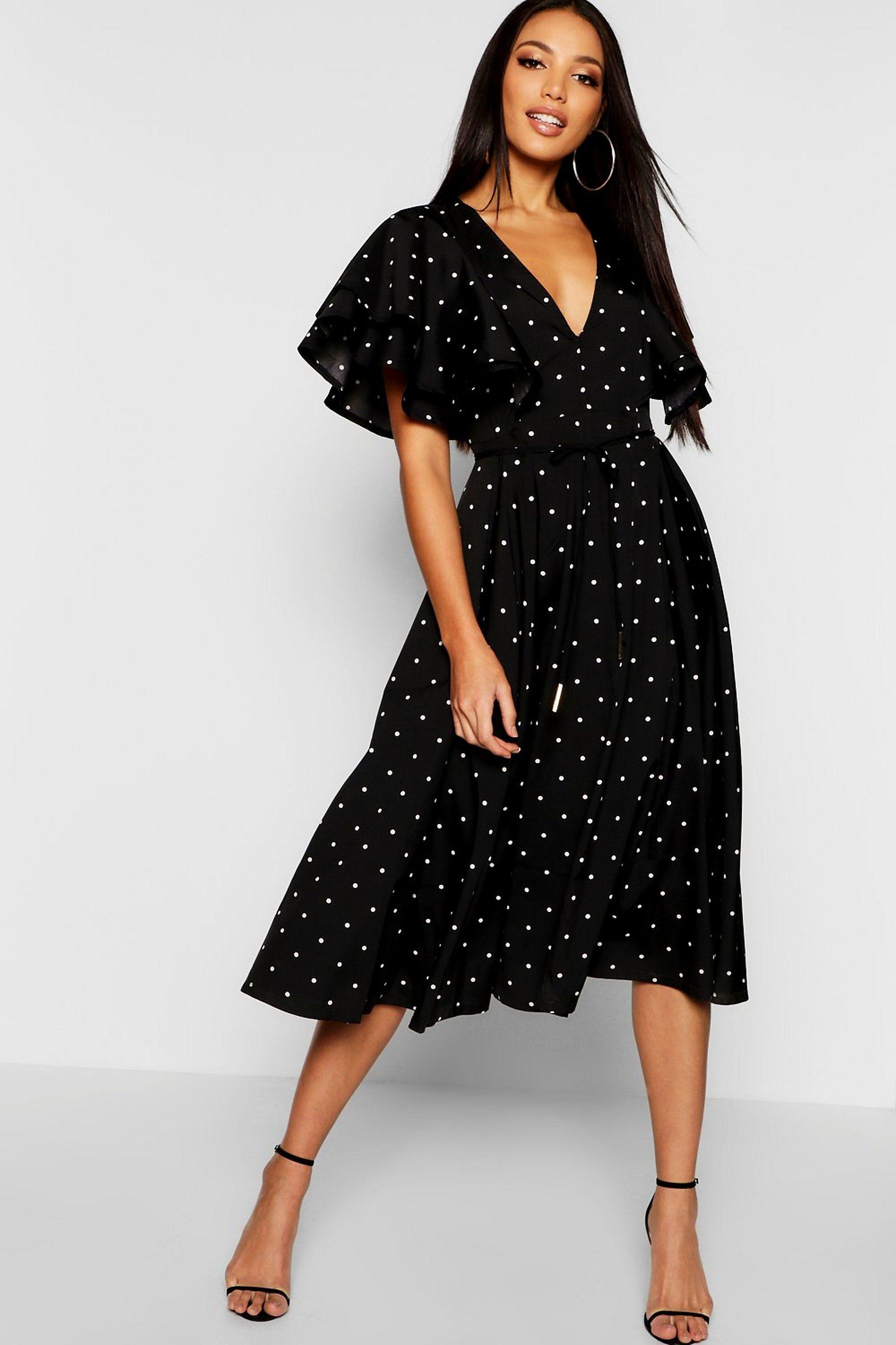 Mini Polka Dot Ruffle Angel Sleeve Midi Dress Boohoo Midi Dress With Sleeves Dresses Midi Dress [ 3272 x 2181 Pixel ]