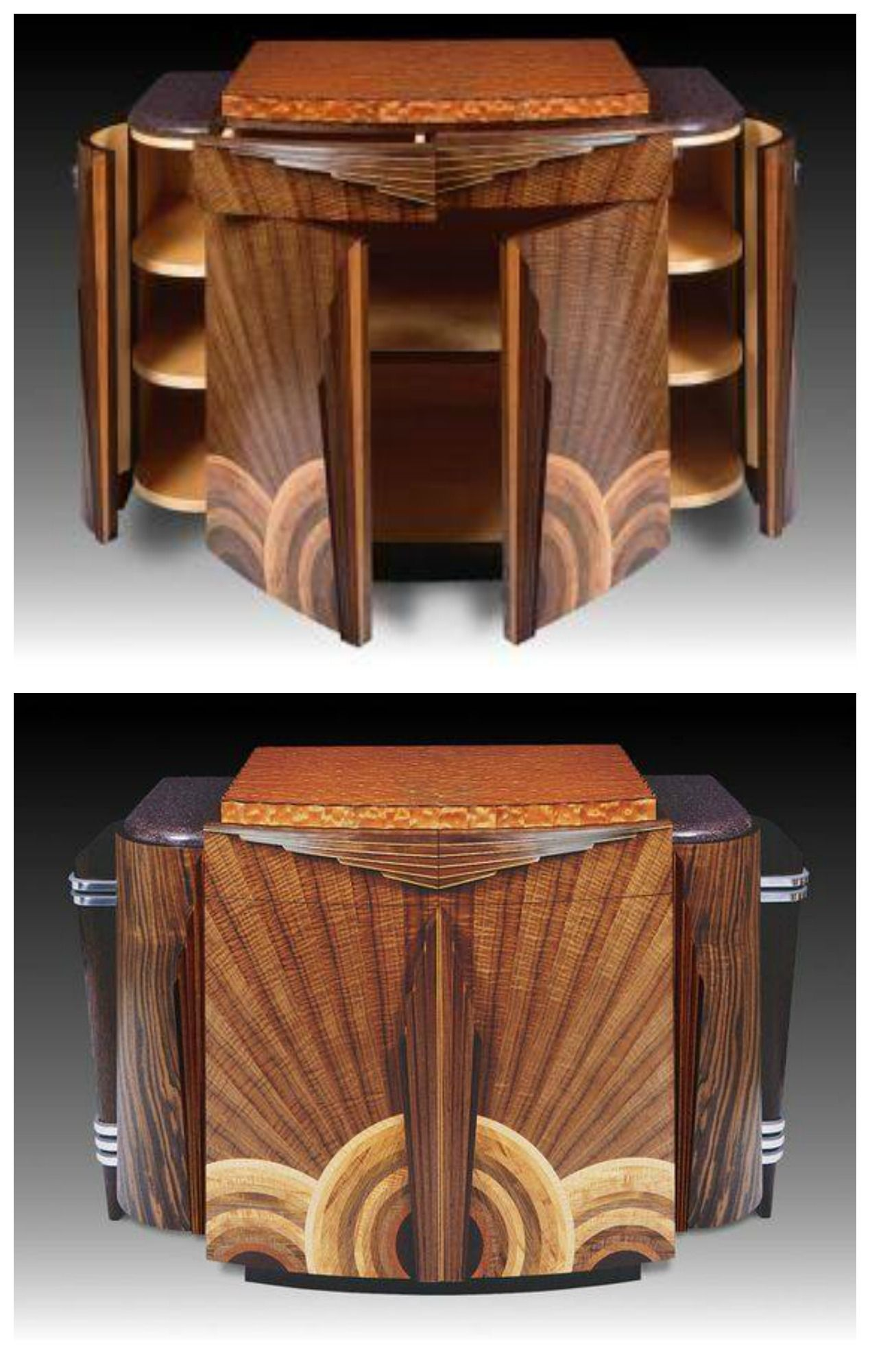 Art Nouveau Mobili Art Deco Walnut Additional Woods And Aluminum Credenza