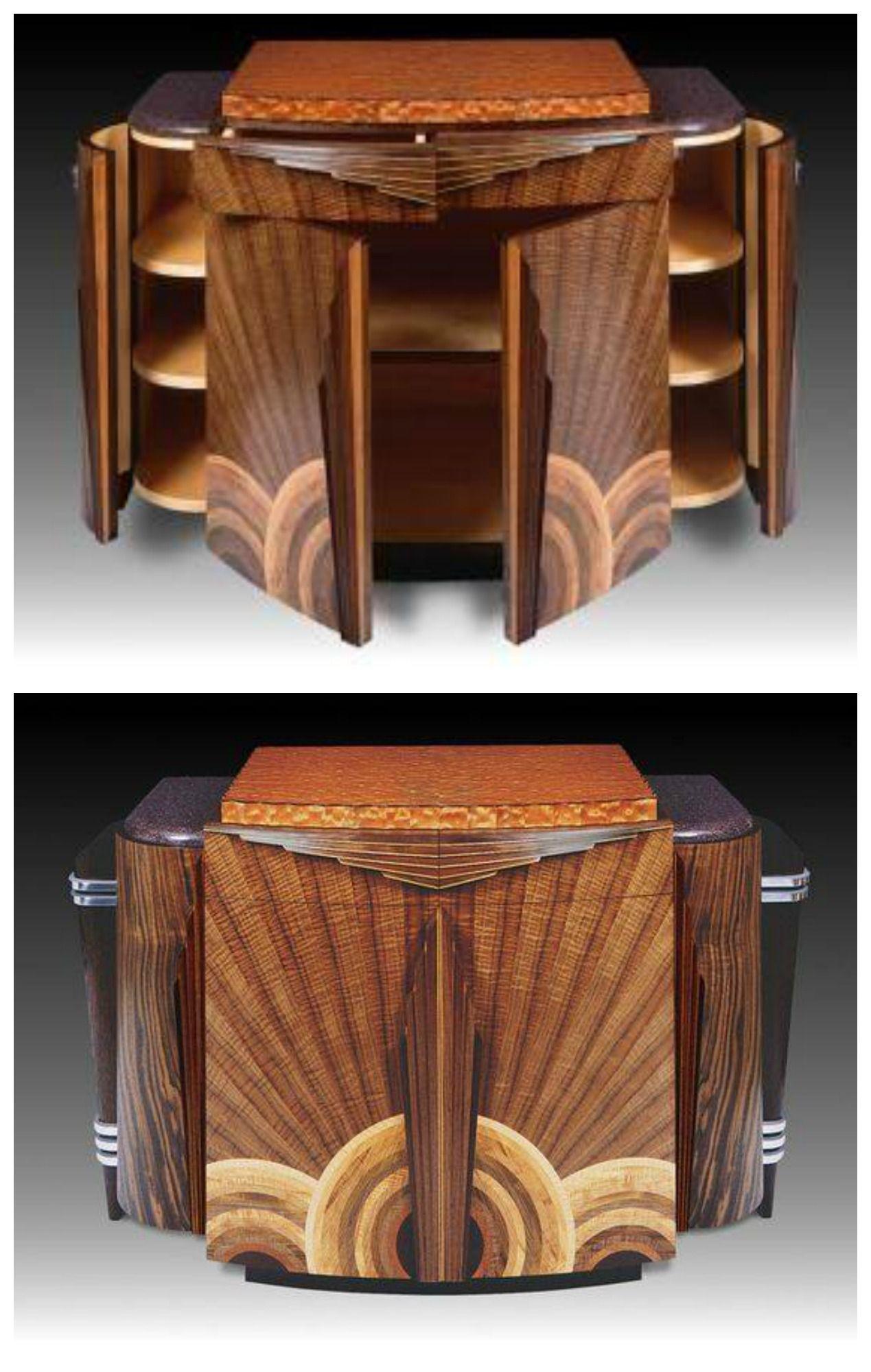 Art deco walnut additional woods u aluminum credenza cabinet by