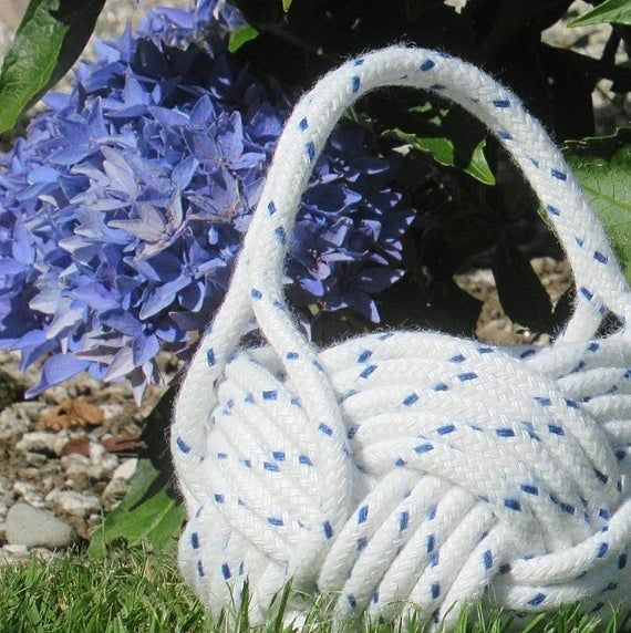 Nautical Flower Girl Basket, White and Navy Rope Knot Bowl. Ideal for a Beach Wedding. Naval or Sail #ropeknots