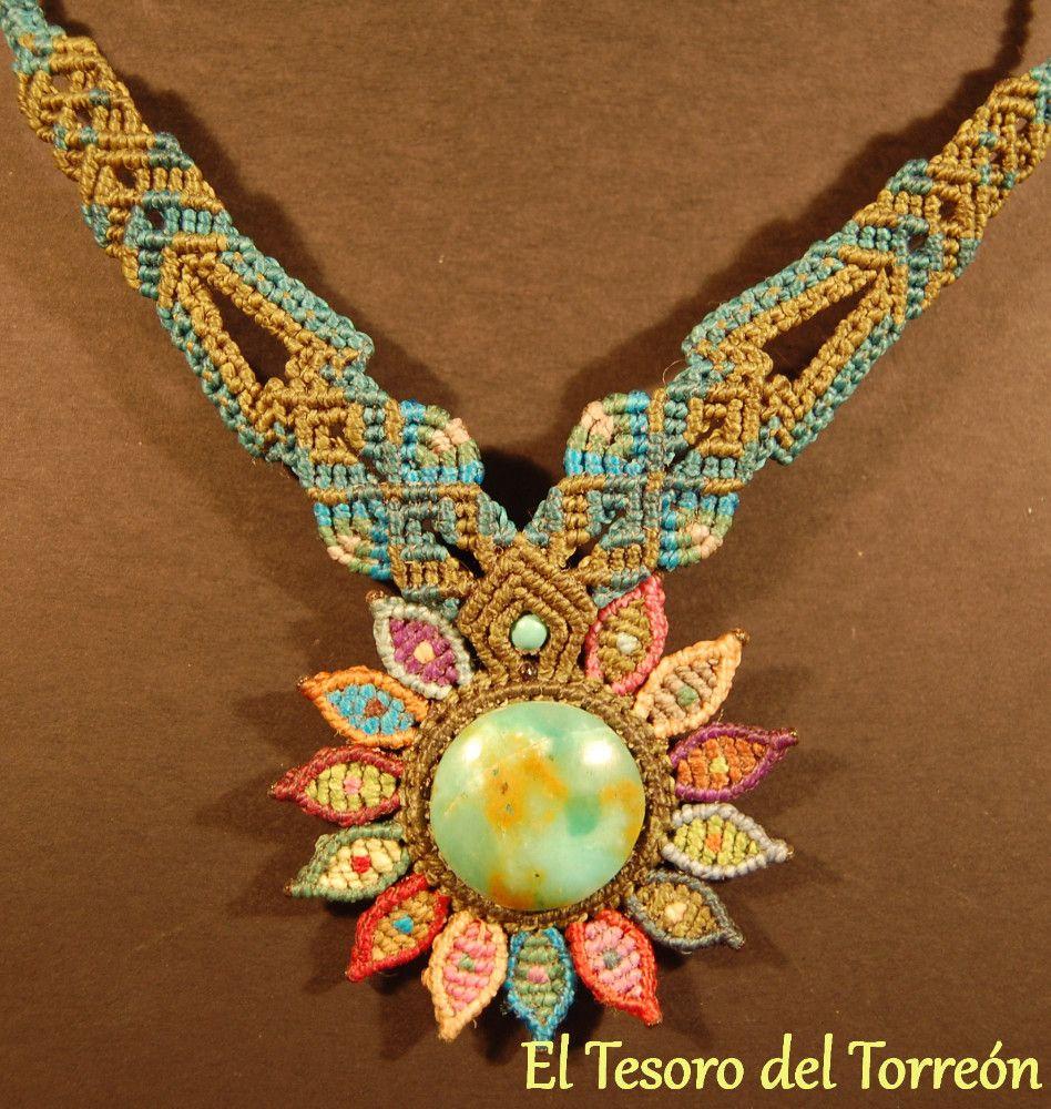 Colgante macrame con piedra opalo joyas nudos collares for Nudos para colgantes